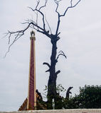 The crematorium and dead tree. On sky background , image for symbol of death Stock Photo