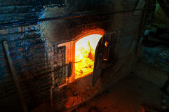 Crematory. Old crematory with fire inside Stock Images