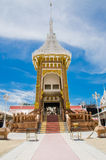 Crematory or pyre against blue sky in Thai temple Royalty Free Stock Photo
