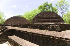 Crematory Stupa at Alahana Parivena, Sri Lanka. Image of a double crematory stupa at UNESCO's 12th century World Heritage Site of Alahana Parivena, located at Royalty Free Stock Photos
