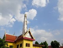 Crematory in thai temple for funeral with blue sky background stock photos