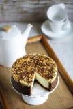 Cremcake met gehele korrelkorst, gezond gluten-vrij dessert, stock afbeelding