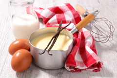 Creme anglaise and ingredient Royalty Free Stock Image