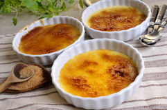 Creme Brulee. French dessert Crme Brulee on a table Stock Images