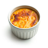 Creme brulee in ceramic bowl Royalty Free Stock Images