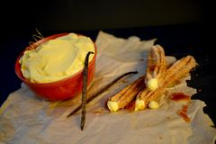 Creme Brulee Churro. Hand made artisan churros with new creative flavors Stock Image