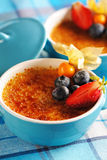 Creme brulee (cream brulee, burnt cream) Stock Images