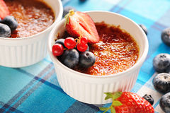 Creme brulee (cream brulee, burnt cream) Royalty Free Stock Image