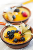 Creme brulee dessert stock photo