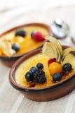 Creme brulee dessert Stock Images