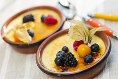 Creme brulee dessert Stock Photos