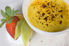 Creme brulee dessert a la carte Stock Photo