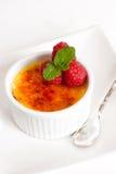Creme brulee Dessert wih fruits and mint leaves Stock Image
