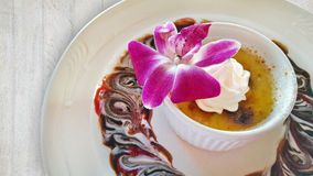 Creme brulee with edible orchid Stock Image