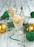 Creme Brulee ice cream. And Christmas decoration Stock Photography