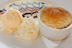 Creme Brulee and Icecream Royalty Free Stock Photography