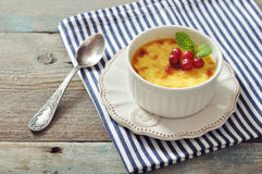 The creme brulee with mint Royalty Free Stock Photo
