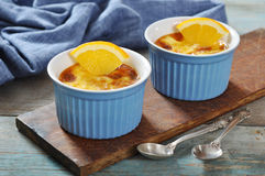 The creme brulee with orange Royalty Free Stock Images