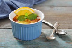 The creme brulee with orange Stock Image