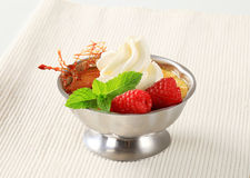 Creme brulee with raspberries and whipped cream. In a metal serving dish Stock Photo