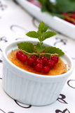 Creme Brulee with red Currants, isolated on White Royalty Free Stock Images