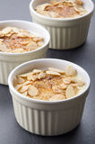 Creme brulee with roasted almond sliver Stock Photo