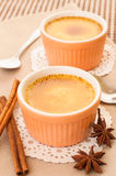 Creme Brulee served in ceramic bowl. Royalty Free Stock Photos