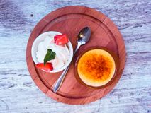 Creme Brulee with Cream Royalty Free Stock Image