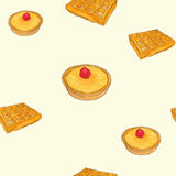 Creme brulee tart and waffle sketch  pattern Royalty Free Stock Photo
