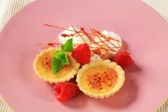 Creme brulee tartlets Stock Images