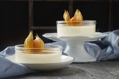 Creme brulee - traditional french vanilla cream dessert with car Stock Photos