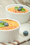 Creme brulee. Traditional French vanilla cream dessert with cara Stock Photography