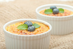 Creme brulee. Traditional French vanilla cream dessert with cara Stock Photos