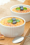 Creme brulee. Traditional French vanilla cream dessert with cara Royalty Free Stock Images