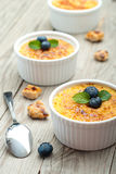 Creme brulee. Traditional French vanilla cream dessert Royalty Free Stock Image