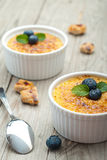 Creme brulee. Traditional French vanilla cream dessert Stock Photos