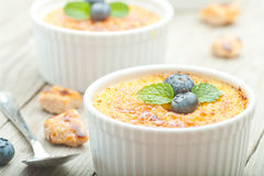 Creme brulee. Traditional French vanilla cream dessert Stock Images