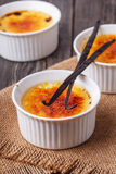 Creme brulee - traditional french vanilla cream dessert. Royalty Free Stock Image