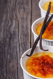 Creme brulee - traditional french vanilla cream dessert. Stock Image