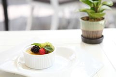 Creme brulee. Traditional French vanilla cream dessert with fruit royalty free stock photos