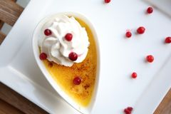 Creme Brulee on a plate stock image