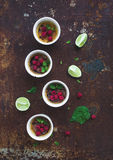 Creme brulees with raspberries and mint in white Royalty Free Stock Images