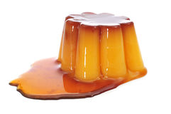 Creme caramel with caramel sauce Stock Photos