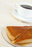 Creme caramel and coffee. A delicious creme caramel and coffee Royalty Free Stock Images