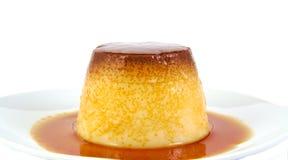Creme caramel, custard or pudding isolated on Royalty Free Stock Photos