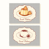 Creme caramel dessert business cards in vector Royalty Free Stock Images
