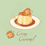 Creme caramel dessert isolated in vector Royalty Free Stock Photography