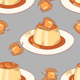 Creme caramel dessert seamless pattern in vector Royalty Free Stock Image