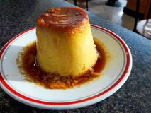 Creme Caramel Dessert served at Restaurant Daylight. Traditional Food Royalty Free Stock Image