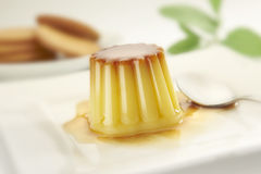 Creme caramel on a dish Royalty Free Stock Photo
